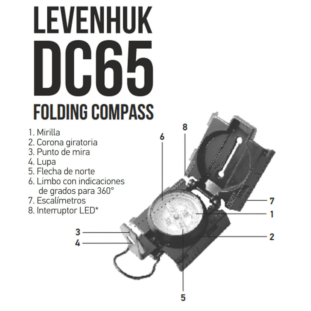 Brújula de Orientación con fluido Levenhuk DC65